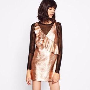 NWT Zara Rosegold Ruffle Metallic Dress